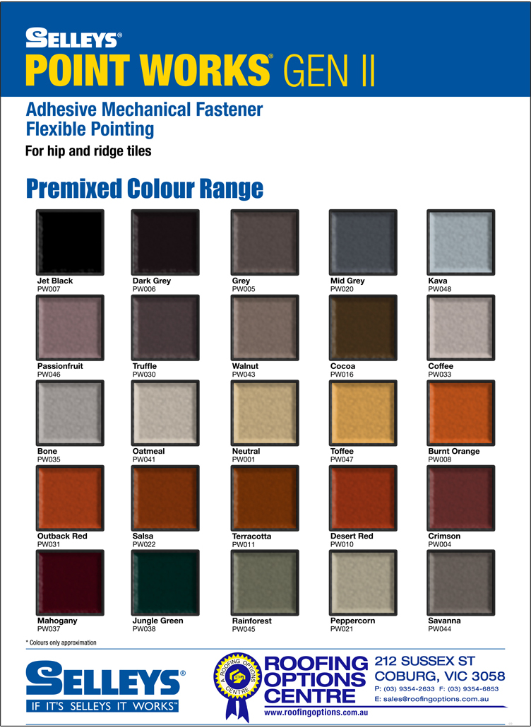 Point Works Colour Chart