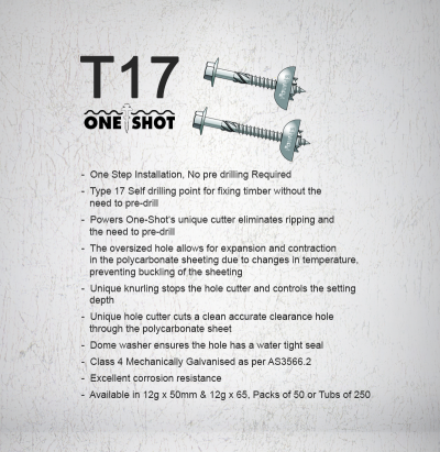 One Shot T17 Polycarb Screw Info